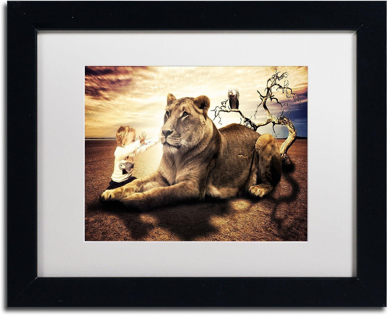Trademark Fine Art Lionheart Canvas Artwork by Erik Brede, 11 by 14Inch, White Matte with Black Frame