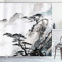 Shaolin monk lanterns pandas and rice fields Shower Curtain 12 Plastic Hooks