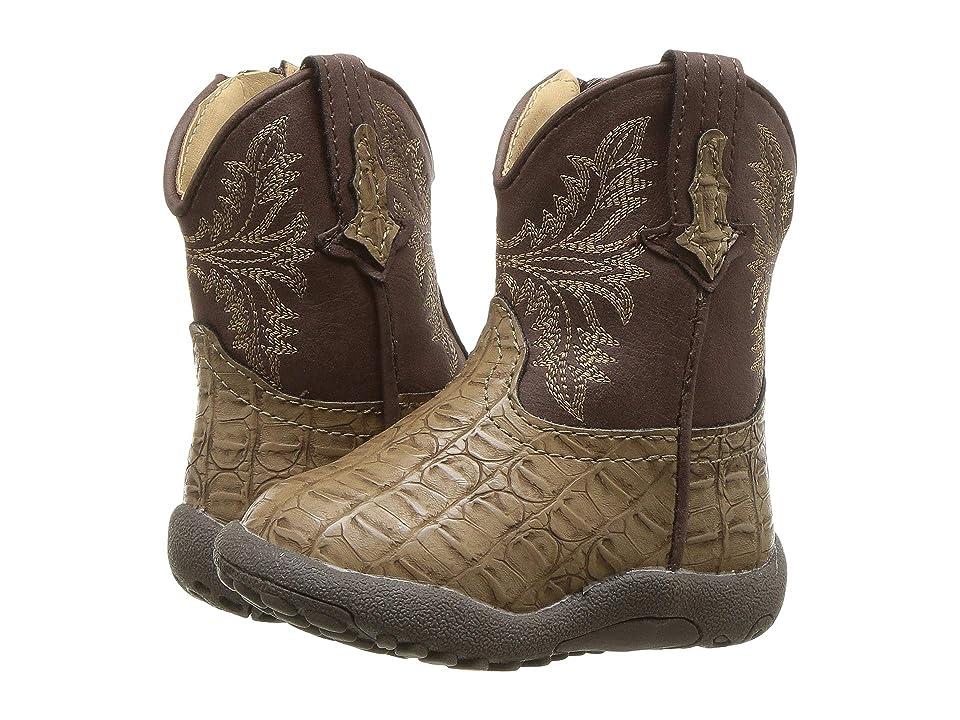 Roper Kids Chomp (Infant/Toddler) (Tan Faux Caiman Vamp/Brown Shaft) Cowboy Boots