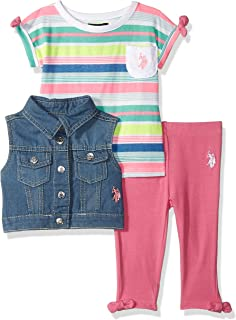 U.S. Polo Assn. Baby Girls 3 Piece Striped T-Shirt, Vest,...