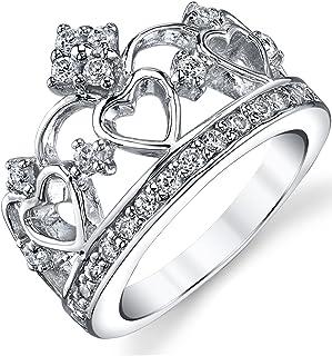 925 纯银方晶锆石公主皇冠皇冠 CZ 戒指