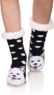 Womens fuzzy Cozy Cute Cartoon Animal Non-Slip Winter Thermal Slipper Socks