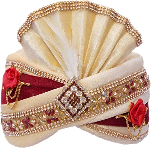 Turban Mens Pagdi Pagri Embellised Self Design Men Turban Pagri for Marriage Wedding Party Multi Color
