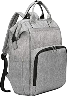Baby Diaper bag, Large Changing Nappy Backpack Rucksack Waterproof Diaper Rucksack with Stroller Hooks for Mum (Grey)