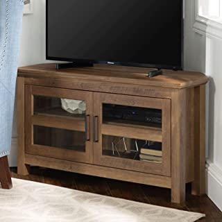"WE Furniture Modern Farmhouse Wood Corner Universal Stand for TV's up to 50"".."