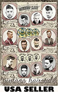 Men's Celebrity Hairstyles #D Poster 23.5 x 34 Old-time top-Heavy Haircuts Barbershop Mens Vintage Hair Styles Tight Contour Perfect for Salons (Sent from USA in PVC Pipe)