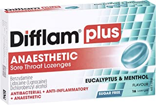 Difflam Difflam Plus Anaesthetic Sore Throat Lozenges, Menthol & Eucalyptus, 16 count