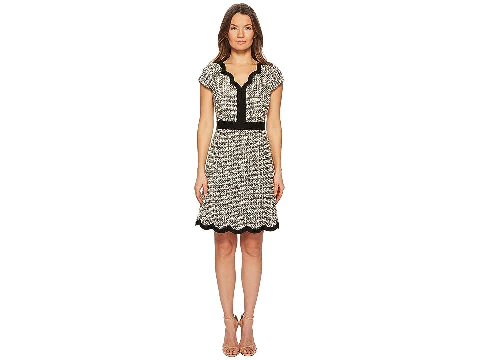 Kate Spade New York Scallop Tweed Dress (Black/Cream) Women