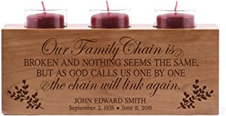 LifeSong Milestones Personalized Our Family Chain is Broken Memorial Sympathy Candle Holder Custom Engraved Cherry Wood Keepsake Ideas for Loved One 10
