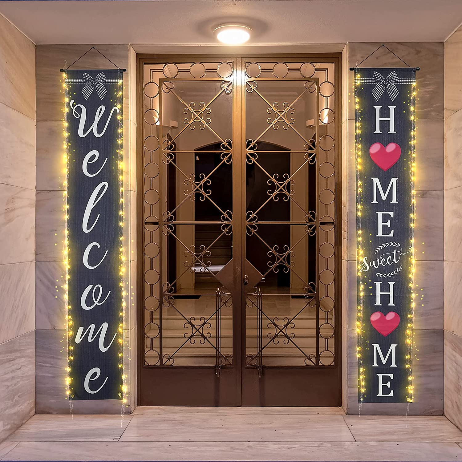Trgowaul 2pcs Welcome Home Sweet Home Porch Sign, Front Door Sign with String Light, Welcome Sign Decor, Hanging Door Banner for Farmhouse, Outdoor, Rustic, Front Porch (Welcome Porch Sign)
