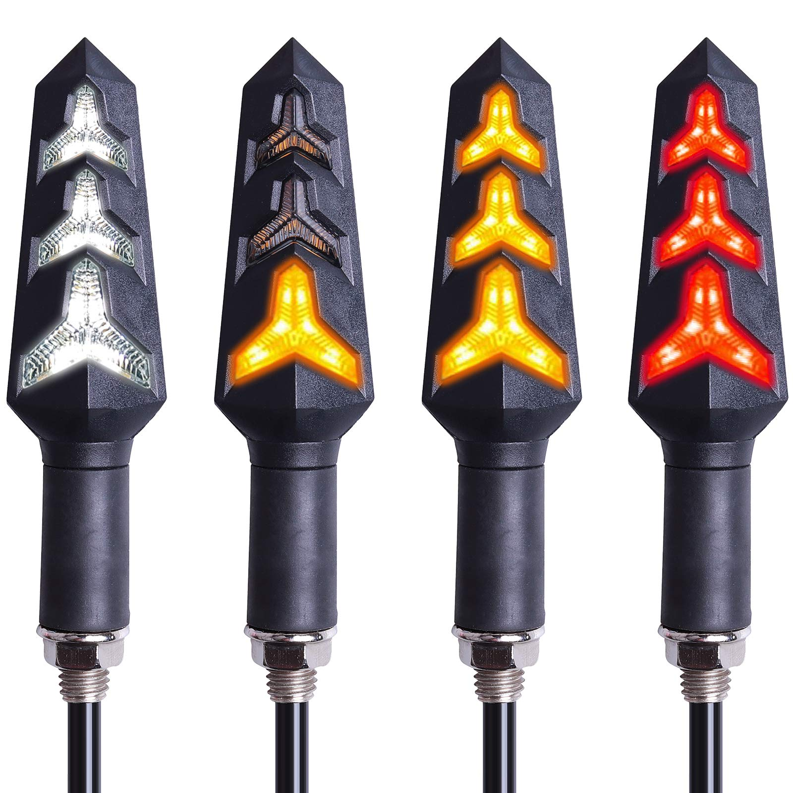 Justech 4PCS Motorcycle Indicators Amber Bullet-Shaped Motorbike Turn Signal Lights Blinker Lights Front Rear Lights Universal for Motorcycle Scooter Quad Off Road