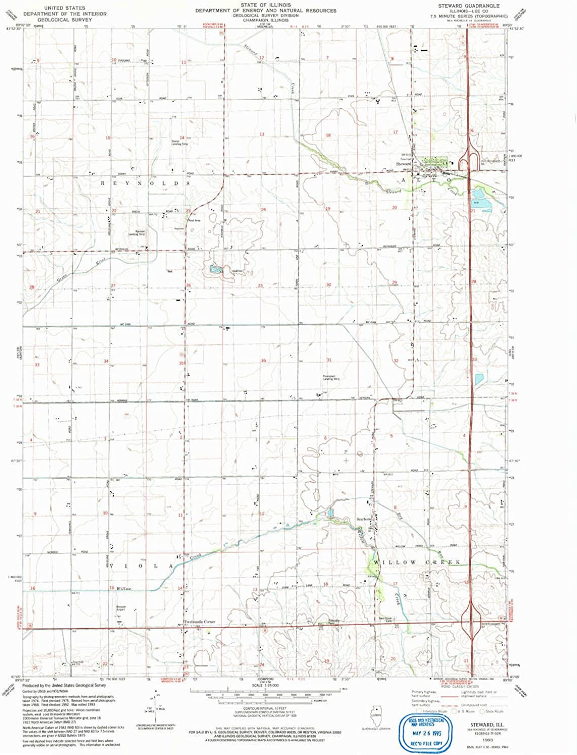 Steward IL topo map, 1 24000 Scale, 7.5 X 7.5 Minute, Historical, 1993, Updated 1993, 26.8 x 22 in