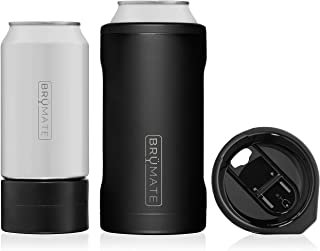 Br�Mate HOPSULATOR TR�O 3-in-1 Stainless Steel Insulated Can Cooler, Works With 12 Oz, 16 Oz Cans And As A Pint Glass (Matte Black)