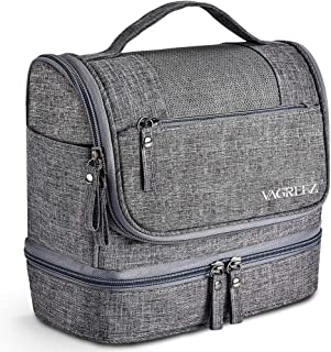 Toiletry Bag, VAGREEZ Upgraded Hanging Travel Toiletry Organizer Kit with Heavy-duty Zippers Waterproof Comestic Bag Dop Kit for Men or Women (Light gray)