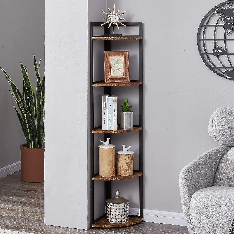 Superjare Corner Shelf Industrial 5 Wall Books Tier 25% Popular shop is the lowest price challenge OFF Wood