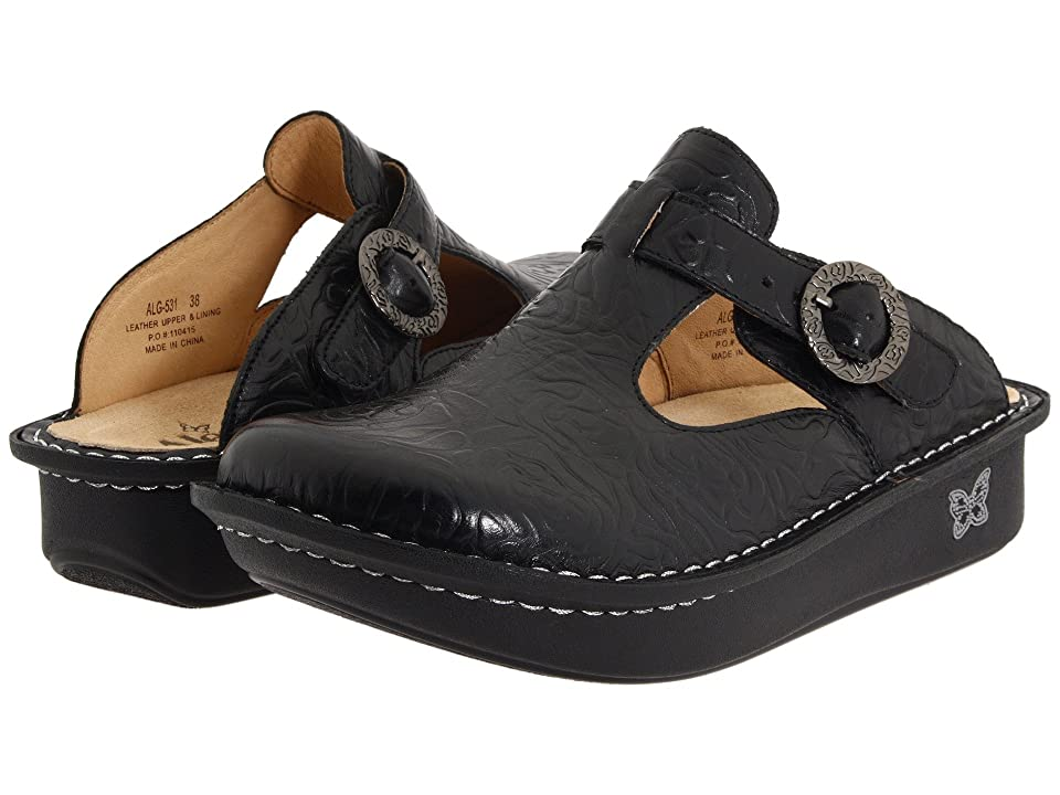 Alegria Classic (Black Emboss Rose Leather) Women
