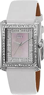 Women's Crystal Square Watch - Genuine Crystals Bezel on Mother-of-Pearl Dial On Leather Strap - BUR088