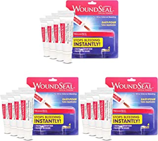 WoundSeal Powder 4 Each (Pack of 3) - Wound Care First Aid for Cuts, Scrapes and Abrasions - Stops Bleeding in Seconds Without Stitches or Bandages - Safe and Effective for People of All Ages and Pets