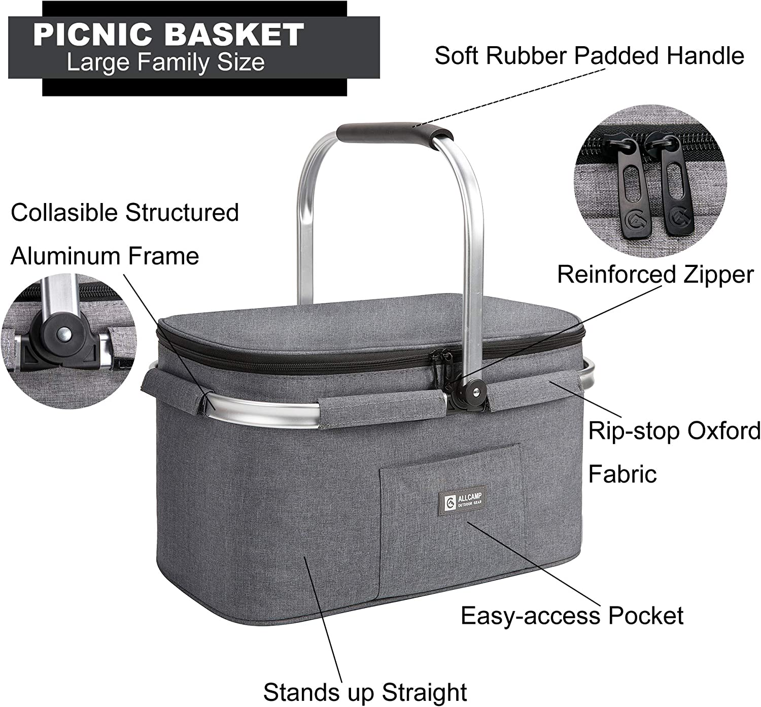 Apollo Walker Lightweight Extra Large Picnic Basket for 4 Person 32L Family Size Collapsible with 2 Ice Packs Light Gray