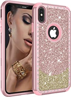 iPhone Xs Max Case, UZER Three Layer Shockproof 3D Handmade Luxury Hybrid Beauty Crystal Rhinestone Glitter Sparkle Bling Diamond Hard PC Soft Silicone Combo Case Cover for iPhone Xs Max 6.5 Inch 2018