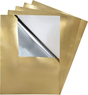 5 Pack - Adhesive Backed Gold Metallic Craft Vinyl Film, Glossy Reflective Mirror Finish, Sticky Back Sticker Protective Cover Sheets, 9
