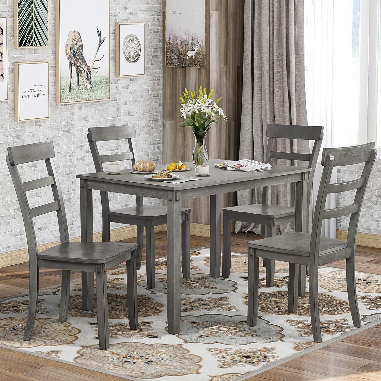 Amazon.com   P PURLOVE 9 Piece Dining Table Set Wood Dining Room ...
