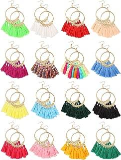 16 Pairs Tassel Hoop Earrings Bohemian Fan Shape Drop Earrings Handmade Fringe Dangle Earrings for Women Girls Wearing Favors