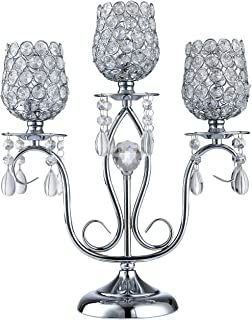 Thaiconsistent Silver candelabra centerpiece 3 arm candle holder crystal for Wedding Birthday Festival Housewarming Coffee Candlelit Banquet Dining Table Fireplace Wall Candlestick