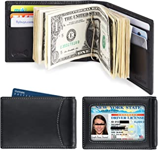 amelleon Men's RFID Blocking Genuine Leather SLIM Wallet Front Pocket Wallet With Money Clip