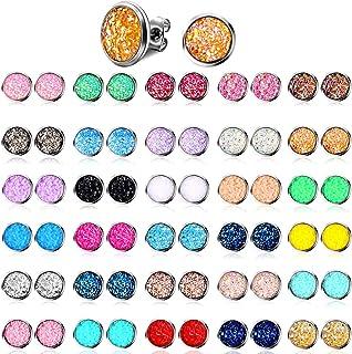 32 Pairs Faux Druzy Stud Earrings Bohemian Round Stud Earrings Stainless Steel Pierced Earrings Jewelry for Women Girls