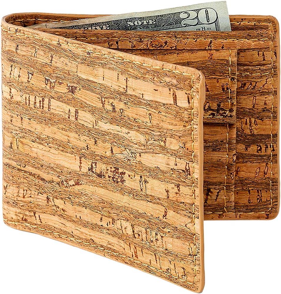 Corkor, portafoglio per uomo, in sughero, protezione rfid con portamonete, giallo CK243Z