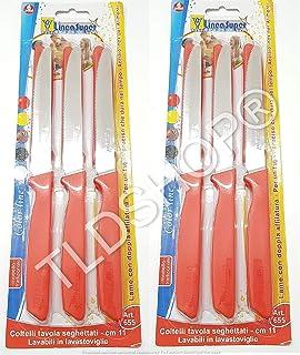 Linea Super – INOX – Juego de 6 Cuchillos de Mesa dentados – 11 cm