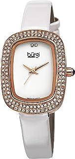 Women's Rectangular Swarovski Crystal Watch - 2 Diamond Adorn The 12 Hour On Slim Leather Strap Watch - BUR111