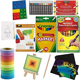 Mini Scratch Cards + Colors of Tape Activity + Colored Drawing Rainbow Pack & 10 Rolls Pack & Pastel Paper pad Fun Creativ...