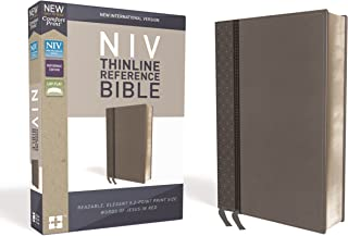 NIV, Thinline Reference Bible, Leathersoft, Gray, Red Letter Edition, Comfort Print