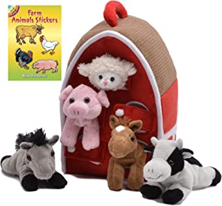 Unipak Barn House with 5 Stuffed Animals (Sheep, Pig, Cow, Grey Horse, Brown Horse) and Farm Animals Stickers Book