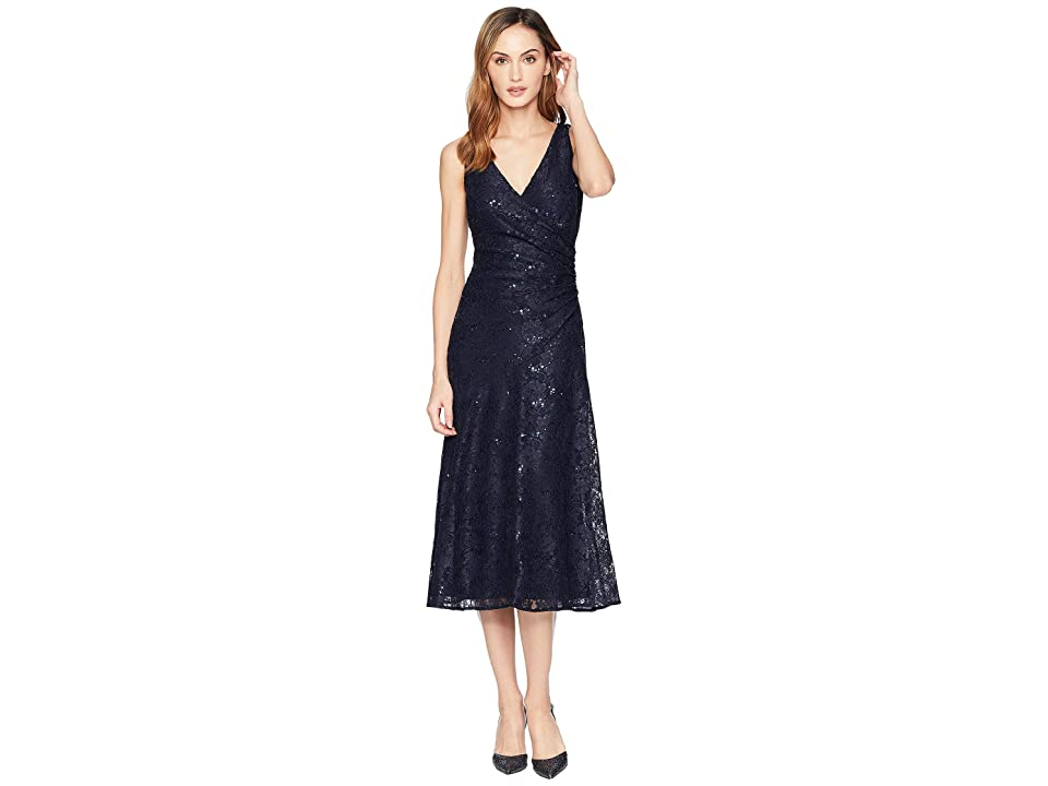 LAUREN Ralph Lauren Grace Floral Scallop Lace Castina Sleeveless Day Dress (Navy/Navy Sequin) Women