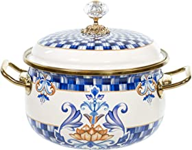 """Red Co. Vintage Enamel Cookware Small 7"""" Induction Stockpot with Blue Floral Design and Gold Trim with Crystal Knob Lid, ..."""
