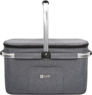 apollo walker Lightweight Picnic Basket Insulated Cooler Bags for 4 Person 32L Large Family Size with 2 Ice Packs(Dark Gray)