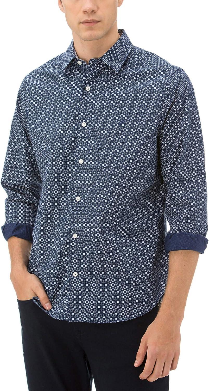 Nautica Men's Classic Fit Long Sleeve Micro Print Button Down Shirt