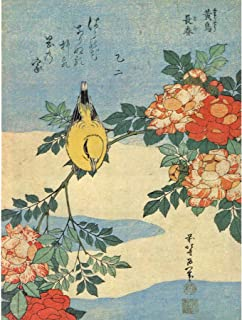 BB8536 konsttryck, motiv: japanska fåglar och blommor, 30 x 40 cm