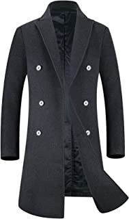 Men's Trench Coat 80% Wool Content French Long Jacket Winter Business Top Coat