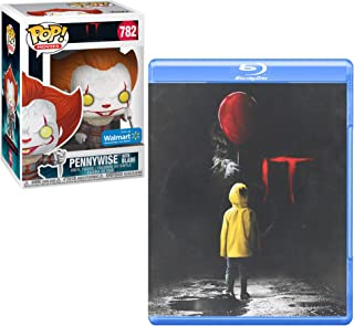 Creeper Pennywise Is BACK: It (Blu-Ray 2017) + Funko POP! Movies: IT: Chapter 2 - Pennywise w/ Blade (Walmart Exclusive) Horror Bundle