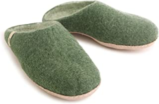 House Slippers for Women Man Kids|Slip On Bedroom Slippers | 100% Sheep Natural Wool Handmade Anti-Skid Leather Sole