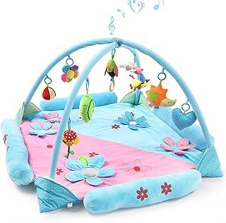 Gran Estera de Juegospara 1-2 Bebés, Safe&Care Alfombra Gimnasio de Actividades con Arcos Cruzados Extraíbles Colgantes Sonajeros y Juguetes de Peluche Manta de Juego para Bebé y Niños Pequeños Azul