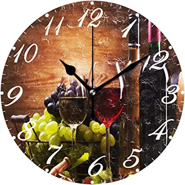 Pfrewn Wooden Wine Wall Clock Silent Non Ticking Round Grape Floral Retro Clocks Battery Operated Watercolor Vintage Desk Clo