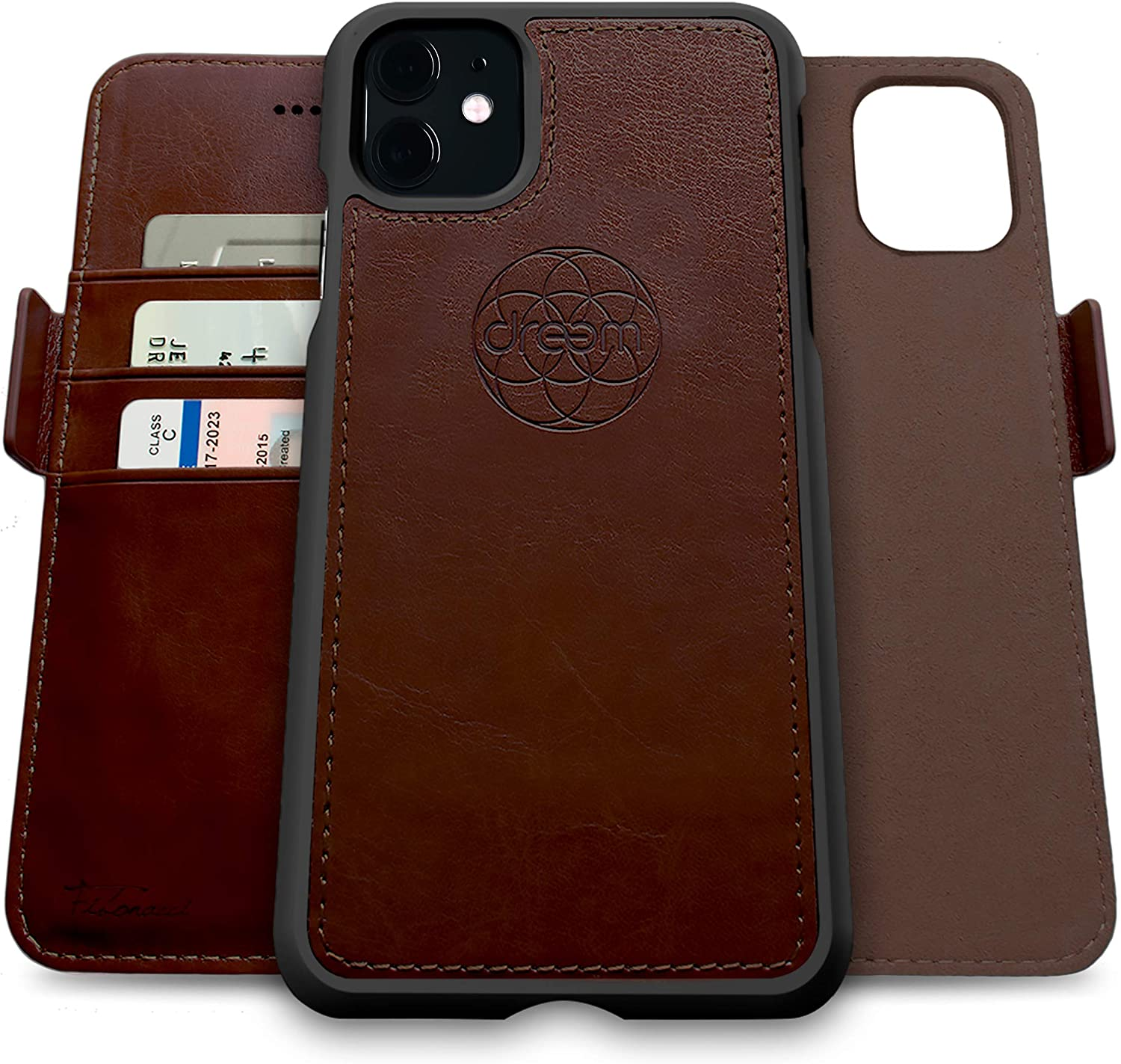 Dreem Fibonacci 2-in-1 Wallet-Case for Apple iPhone 11 - Luxury Vegan Leather, Magnetic Detachable Shockproof Phone Case, RFID Card Protection, 2-Way Flip Stand - Coffee
