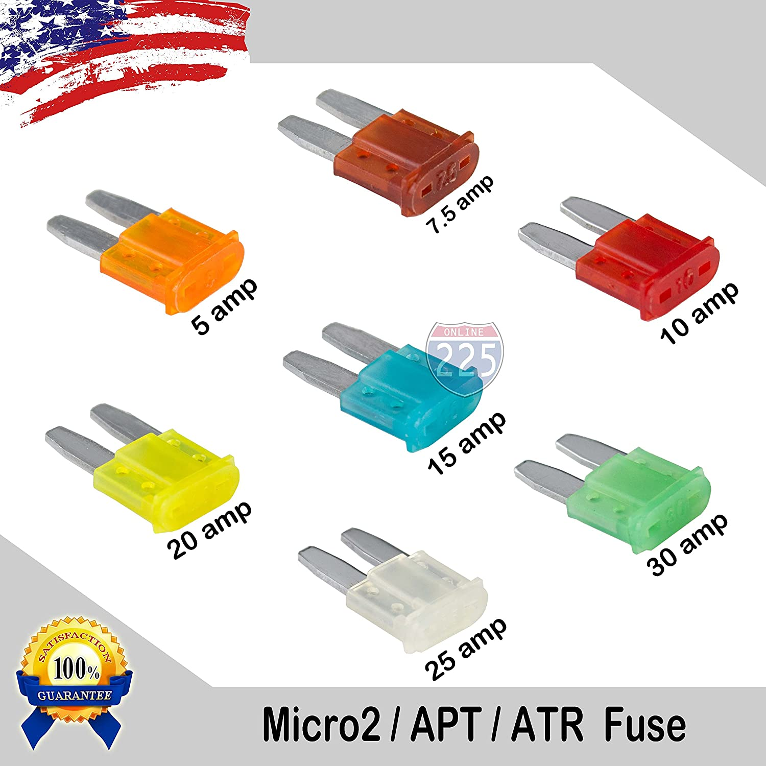 New Low Profile Car Spare 10x Micro2 Blade Fuses 25 Amp For Fuse Box