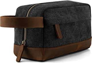 (Dark Gray) - Plambag Canvas Leather Toiletry Bag Travel Cosmetic Makeup Organiser(Dark Grey)