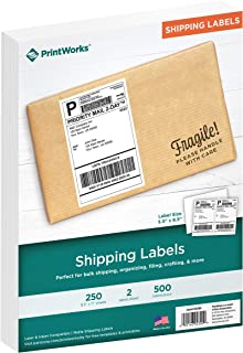 """PrintWorks Professional Shipping Labels, 5.5"""" x 8.5"""" Size, White, 250 Sheets, 2 Labels Per Sheet, Total 500 Labels, 8.5 x 11, Inkjet & Laser, for Bulk Shipping, Organizing, Crafting (04300)"""